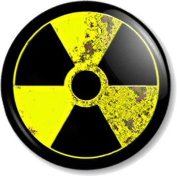 AGED NUCLEAR WARNING SIGN Pinback Button Badge Zombie Symbol Novelty/ Message